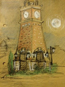 Anser drew this image of the clock tower he depicted in the town of Whitefish.