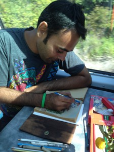 Anser draws the images of America he views on the Millennial Train Project journey.