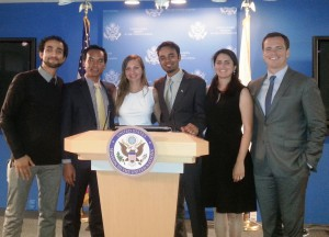 The Fulbright-MTP Participants after a panel at the U.S. Mission to the United Nations in New York City at the end of the 2014 MTP journey. Form left to right, Ammar Mohammed from Yemen; Alyas Widita from Indonesia; Katie Nikolaeva from Russia; Anser Shaukat from Pakistan; Silvia Tijo from Colombia; and Patrick Dowd, Fulbright U.S. Student Program alum and MTP founder.