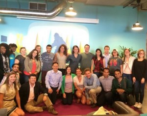 The group of 20 Americans and five Fulbright Foreign Student MTP participants after a mentor session at Citizen University in Seattle. Submitted photo.
