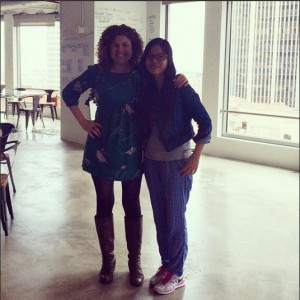 Fulbright-MTP Participant Pichleap Sok from Cambodia with LA mentor, Rebecca McLauchlan, co-founder and CCO of rhubarb studies that builds tech companies in downtown LA.