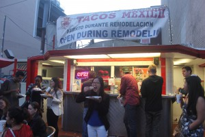 Fulbright-MTP participant, Pichleap Sok, from Cambodia is enjoying her taco at Tacos Mexico, a Mexican food truck in LA.