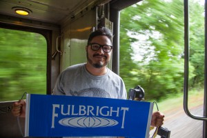 Fulbright-MTP participant Rodrigo Moran from El Salvador on board the Millennial Train.