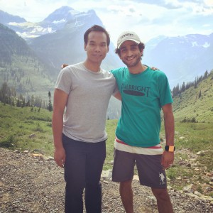 Fulbright-MTPTrain participants Alyas Widita from Indonesia, left, and Ammar Mohammed, from Yemen, Right, at Glacier National Park in Montana.